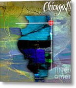Chicago Illinois Map Watercolor Metal Print