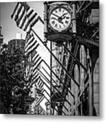 Chicago Macy's Clock In Black And White Metal Print by Paul Velgos