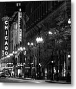 Chicago Theatre At Night Metal Print by Christine Till