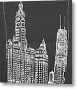 Chicago Wrigley And Hancock Buildings Metal Print