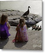 Children At The Pond 3 Metal Print