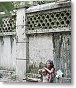 Children On Street Of Yangon Myanmar Metal Print