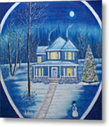 Christmas In Blue Metal Print