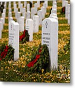 Christmas Wreaths Laid At The Arlington Cemetery Metal Print