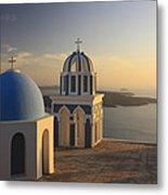 Churches At Sunset Firostefani Santorini Cyclades Greece  Metal Print