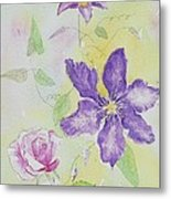 Clematis And The Rose Metal Print