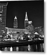 Cleveland In Black And White Metal Print