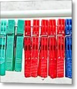 Clothes Pegs Metal Print
