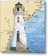Cockspur Island Lighthouse Ga Nautical Chart Map Art Cathy Peek Metal Print