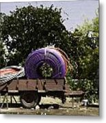 Coils Of Thick Plastic Pipe On A Carrier Wagon Metal Print