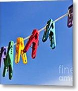 Colorful Clothes Pins Metal Print