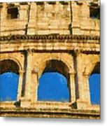 Colosseum In Rome Under Late Afternoon Light Metal Print