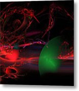 Computer Generated  Spheres Abstract Fractal Flame Modern Art Metal Print