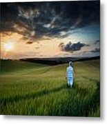 Concept Landscape Young Boy Walking Through Field At Sunset In S Metal Print by Matthew Gibson