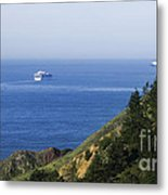 Container Ship On Open Water Metal Print