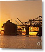 Container Ships Docked In Port Of Oakland Metal Print