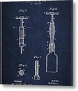 Corkscrew Patent Drawing From 1884 Metal Print