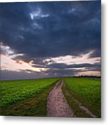 Countryside Landscape Path Leading Through Fields Towards Dramat Metal Print