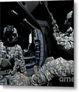 Crew Chief Sits In The Doorway Metal Print
