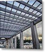 Cultured Stone Terrace Trellis Details Near Park In A City  Metal Print