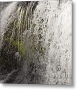 Curtain Of White Water Falling From Rocky Cliff Metal Print