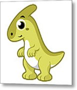 Cute Illustration Of A Parasaurolophus Metal Print