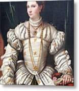 Da Brescia's Portrait Of A Lady In White Metal Print
