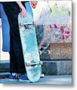 Detail Of Skateboard And Legs Metal Print