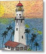 Diamond Head Lighthouse Hi Nautical Chart Map Art Metal Print
