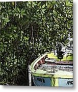 Docked By The Mangrove Trees Metal Print