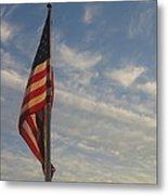 Draped American Flag Pole Dusk Casa Grande Arizona 2004 Metal Print