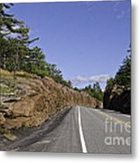 Driving Through A Rock Cut Metal Print