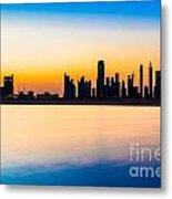 Dubai Skyline At Dusk Metal Print