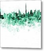 Dubai Skyline In Watercolour On White Background Metal Print