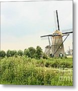Dutch Landscape With Windmills Metal Print