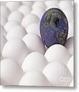 Earth Egg Pollution Metal Print