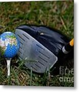 Earth Golf Ball And Golf Club Metal Print