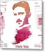 electric generator patent art Nikola Tesla Metal Print