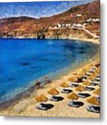 Elia Beach In Mykonos Island Metal Print