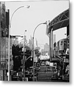 End Of The Line In Black And White Metal Print