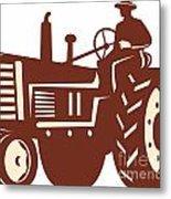 Farmer Driving Vintage Tractor Retro Metal Print
