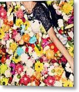 Fashion Model Posing With Flowers Metal Print