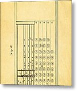 Felt Adding Machine Patent Art 1887 Metal Print