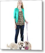 Female And Her Dogs Photographed Metal Print