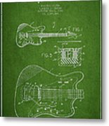 Fender Electric Guitar Patent Drawing From 1966 Metal Print