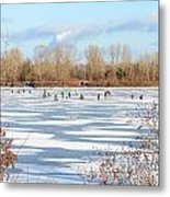 Fishermen On The Frozen River Metal Print
