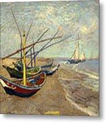 Fishing Boats On The Beach Metal Print