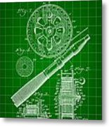 Fishing Reel Patent 1906 - Green Metal Print