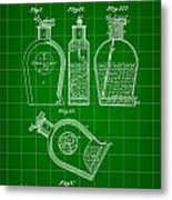 Flask Patent 1888 - Green Metal Print