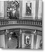 2 Floors Black And White Michigan State Capitol  Metal Print
